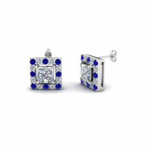 Princess Cut Halo Diamond Stud Earring