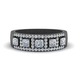 Princess Cut Halo Diamond Wedding Band In 14K Black Gold