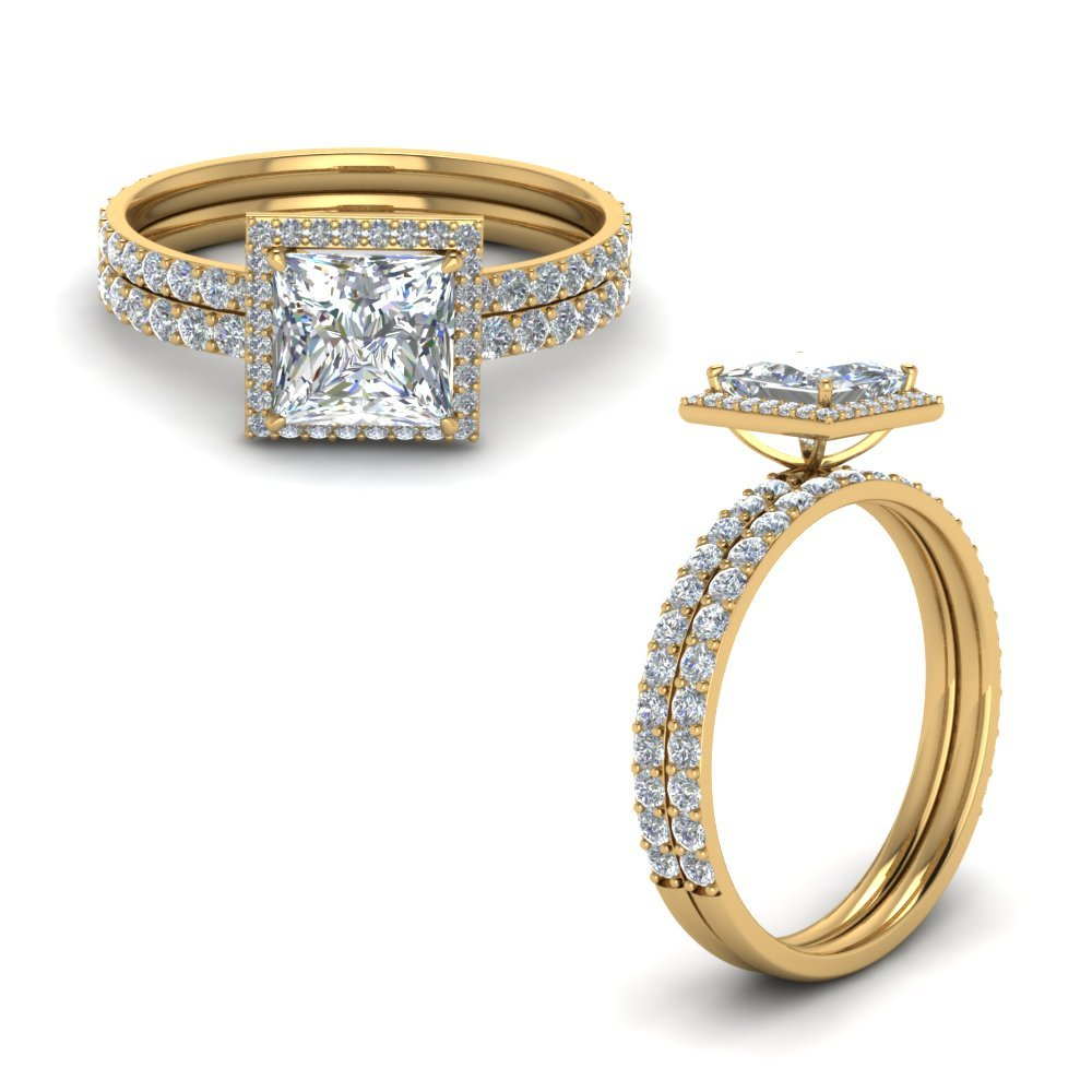 Princess Cut Halo Diamond Wedding Set In 14K Yellow Gold