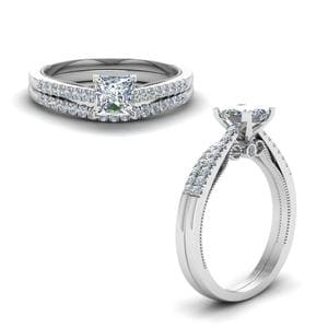 Milgrain Princess Cut Wedding Ring Set