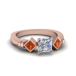 Princess Cut Kite Bar Set 3 Diamond Engagement Ring With Orange Sapphire In 14K Rose Gold