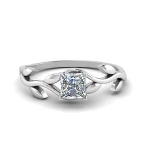 Princess Cut Nature Inspired Single Diamond Leaf Engagement Ring In 14K White Gold