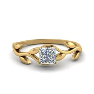 Princess Cut Nature Inspired Single Diamond Leaf Engagement Ring In 14K Yellow Gold