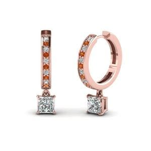 Princess Cut Drop Hoop Diamond Earring With Orange Sapphire In 14K Rose Gold