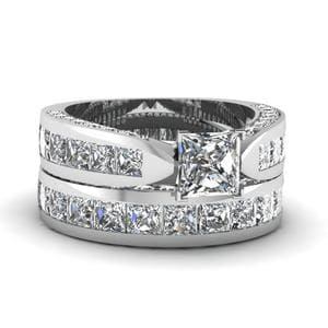 Princess Cut Pave Channel Accent Diamond Bridal Set In 18K White Gold