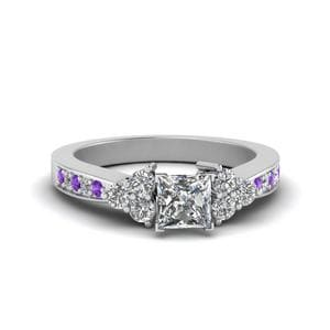 Princess Cut Pave Cluster Diamond Ring
