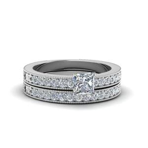 Pave Diamond Milgrain Bridal Set