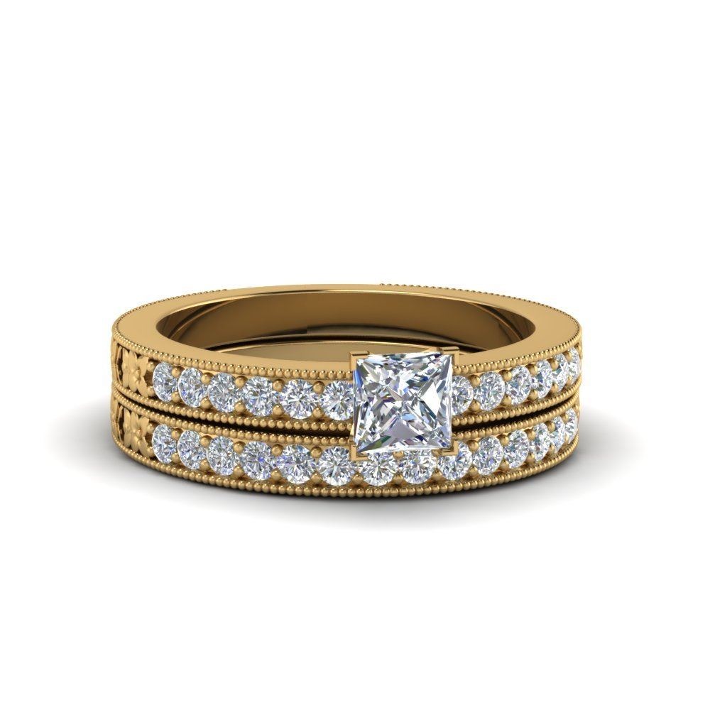 Pave Diamond Bridal Set With Milgrain