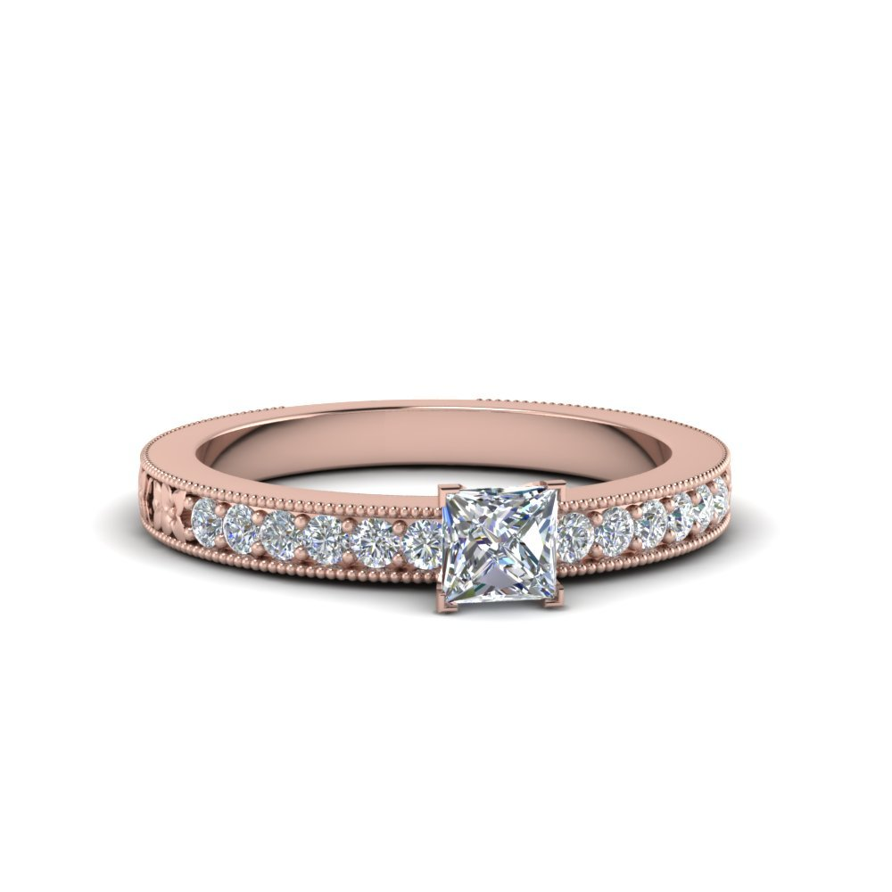 Princess Cut Pave Diamond Milgrain Engagement Ring In 14K Rose Gold