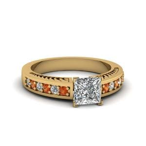 Princess Cut Pave Diamond Handmade Engagement Ring For Women With Orange Sapphire In 14K Yellow Gold