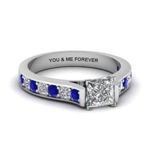 Princess Cut Personalized Pave Accent Diamond Engagement Ring With Sapphire In 14K White Gold