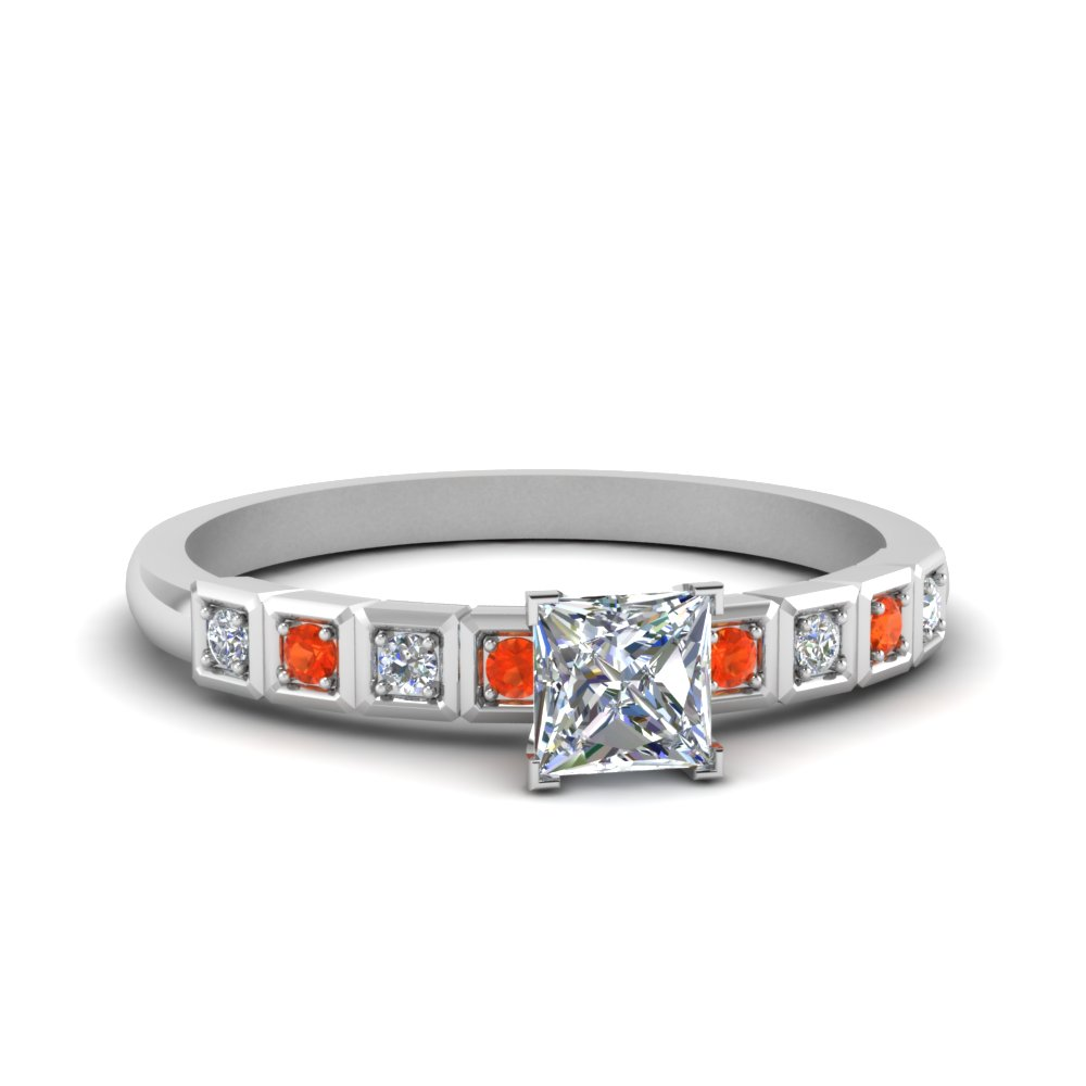 Princess Cut Petite Block Design Diamond Engagement Ring With Poppy Topaz In 14K White Gold