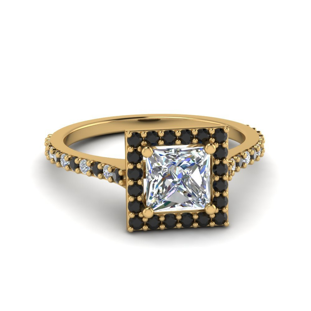 Princess Cut Petite Halo Engagement Ring With Black Diamond In 18K Yellow Gold
