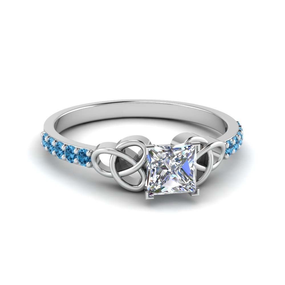 Platinum Blue Topaz Princess Cut Ring
