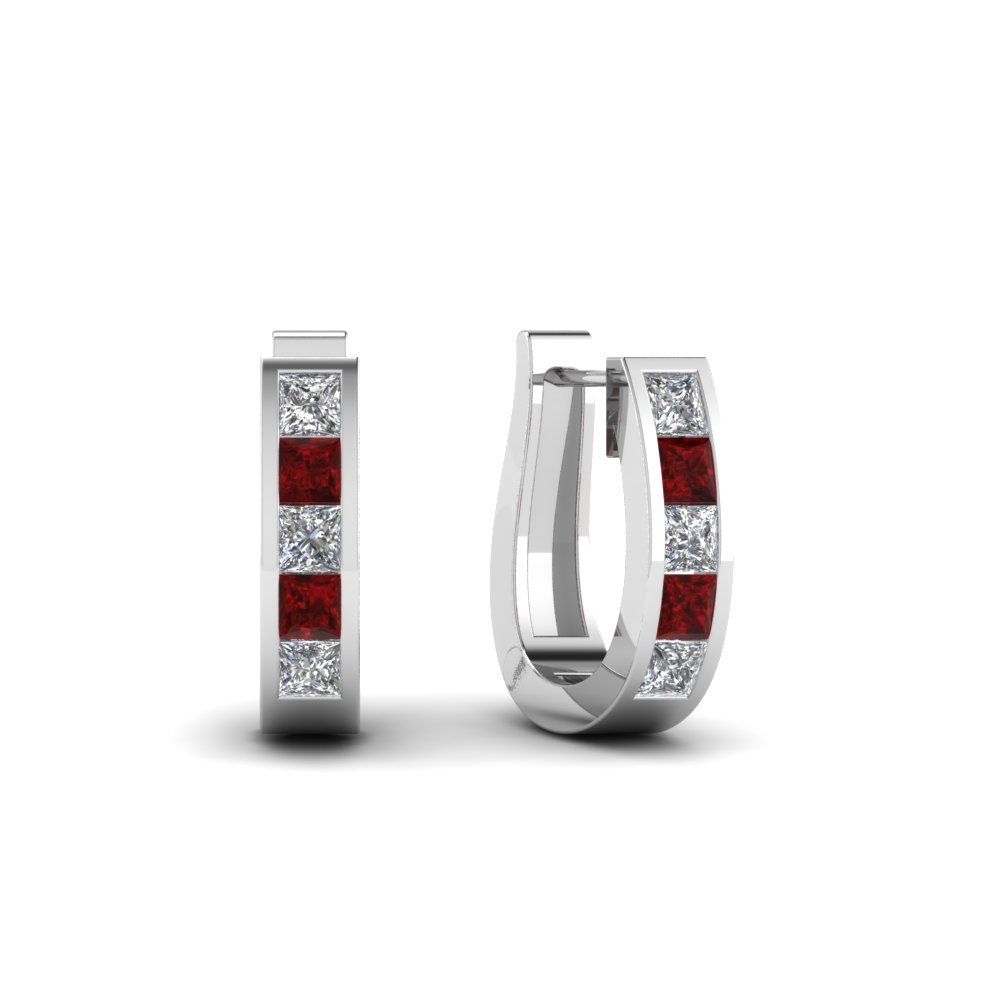 Huggie Diamond Hoop Earring With Ruby In 14K White Gold