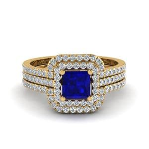 Princess Cut Sapphire Halo Engagement Ring Enhancer In 14K Yellow Gold