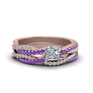 Twisted Purple Topaz Ring Set