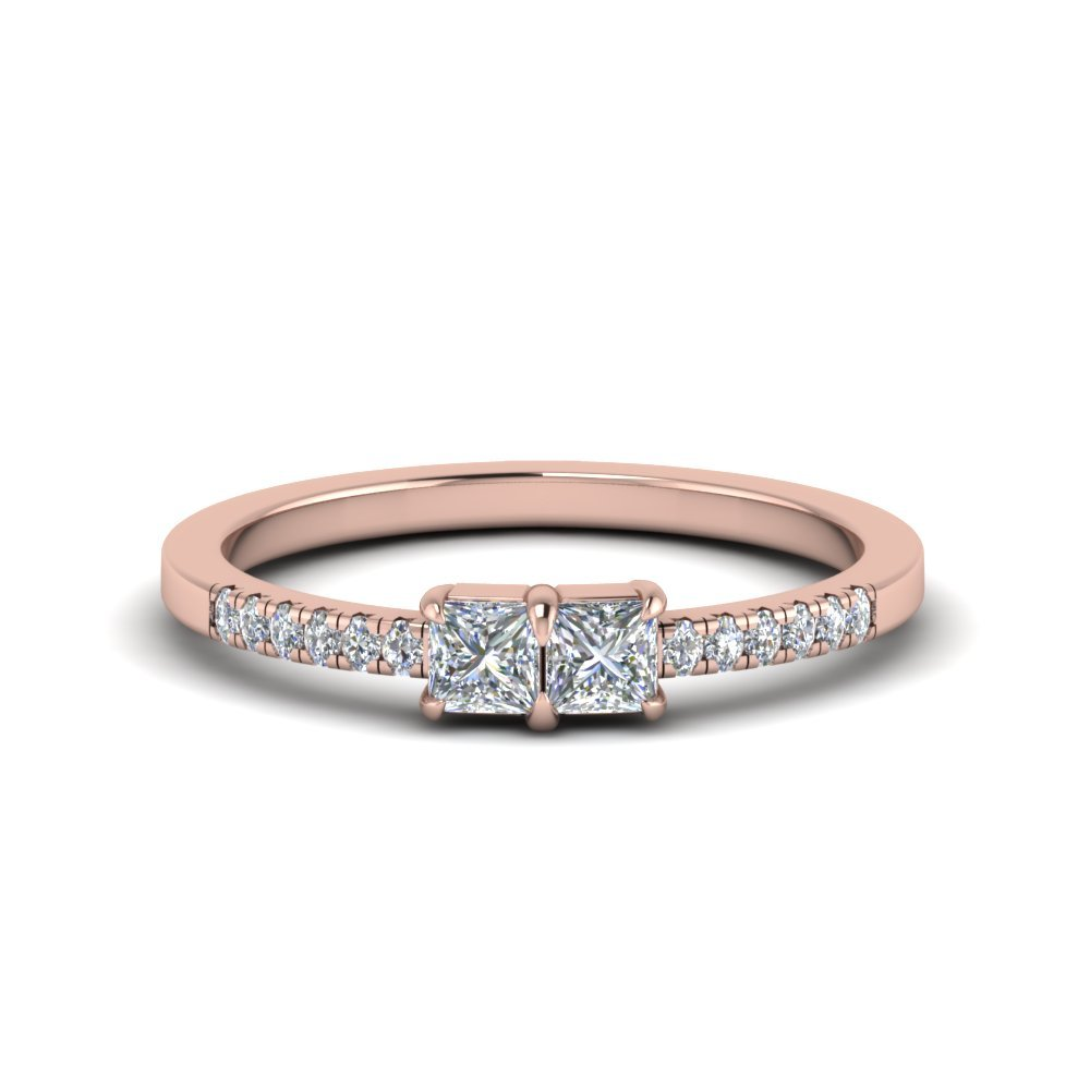 Princess Cut Simple Two Stone Ring