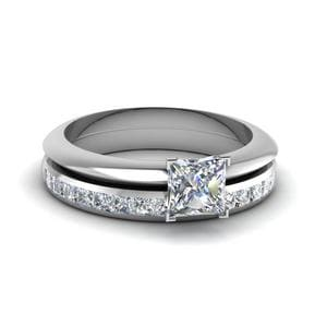 Princess Solitaire Diamond Bridal Set in 14K White Gold