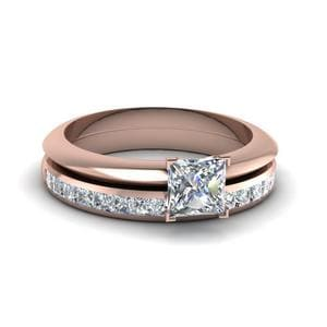 Princess Cut Solitaire Comfort Ring With Eternity Band In 18K Rose Gold