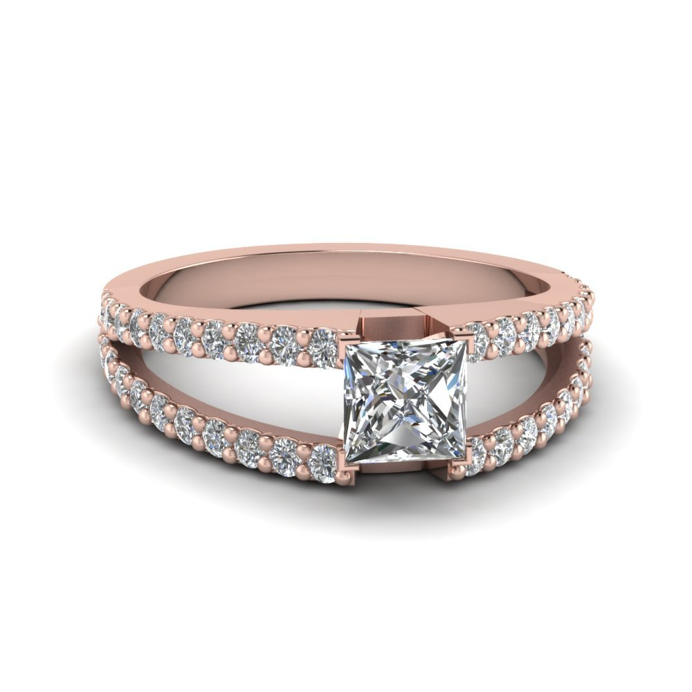 Princess Cut Diamond Split Shank Ring