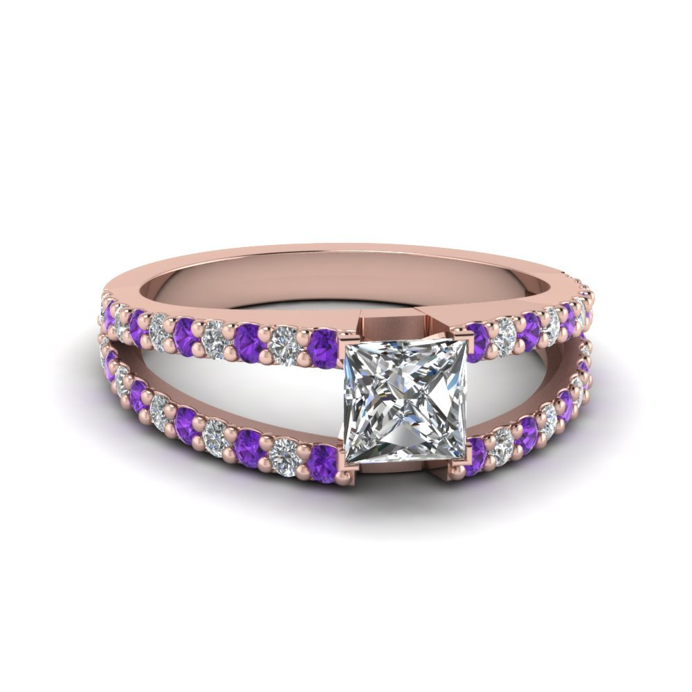 Purple Topaz Princess Cut Ring