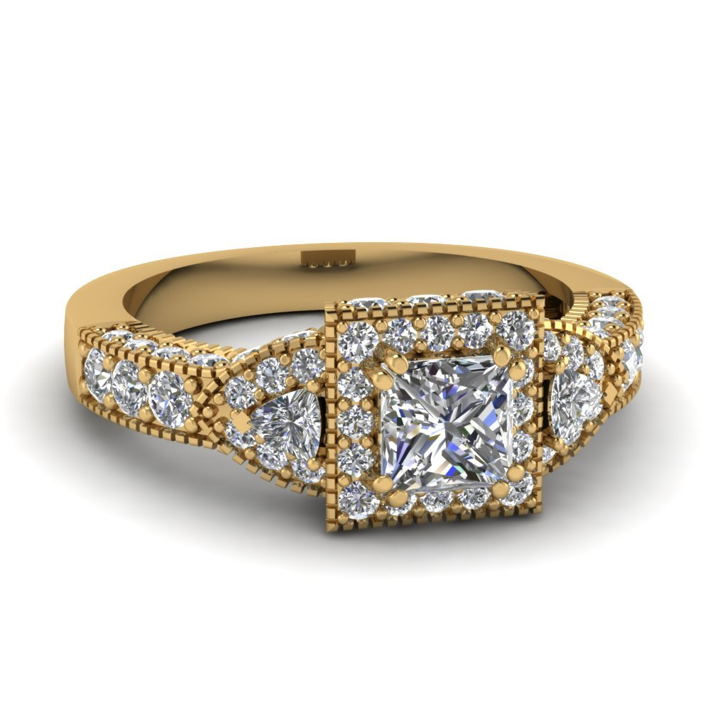 Princess Cut Square Art Nouveau Vintage Diamond Engagement Ring In 14K Yellow Gold