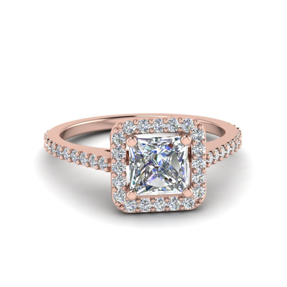 Princess Cut Square Halo Diamond Delicate Engagement Ring In 18K Rose Gold