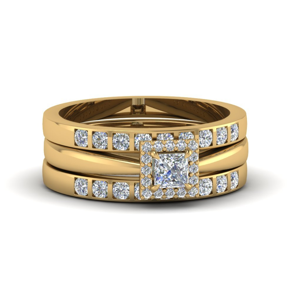 Princess Cut Square Halo Diamond Trio Wedding Ring Sets For Women In 14K Yellow Gold