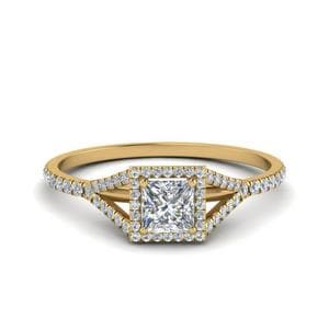 Princess Cut Square Split Diamond Halo Ring In 14K Yellow Gold