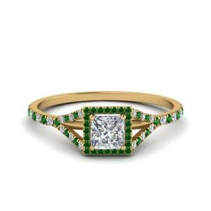 Split Square Halo Emerald Ring