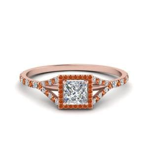 Orange Sapphire Split Shank Ring