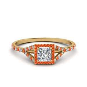Split Halo Ring With Orange Topaz