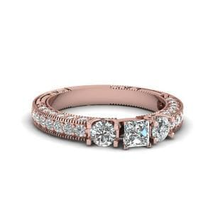 Princess Cut Stone Accented U Prong Diamond Vintage Engagement Ring In 14K Rose Gold