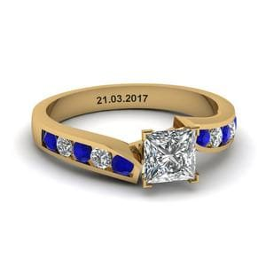 Unique Swirl Princess Cut Diamond Engagement Ring With Sapphire In 14K Yellow Gold