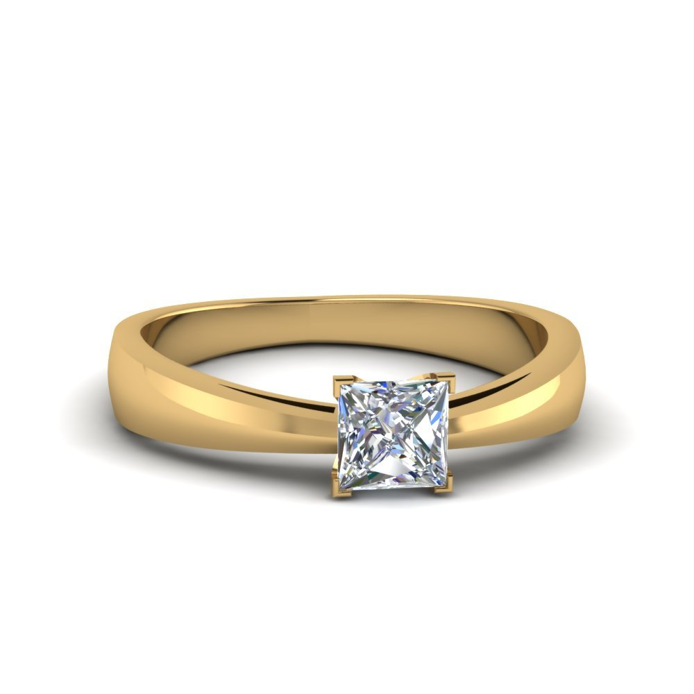Tapered Princess Cut Solitaire Engagement Ring In 18K Yellow Gold