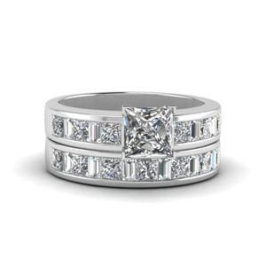 Princess Cut Thick Band Diamond And Baguette Wedding Set In 14K White Gold