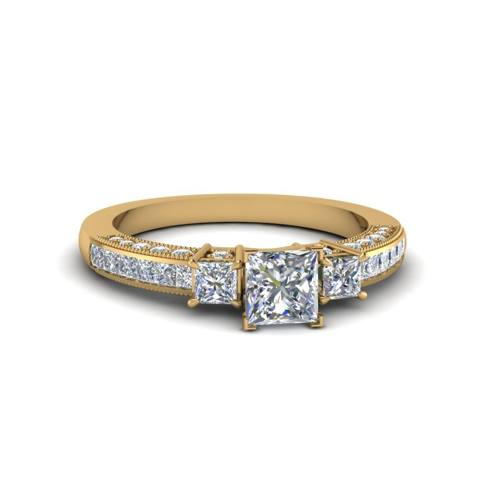 Princess Cut Three Stone Channel Set Diamond Engagement Ring In 18K Yellow Gold