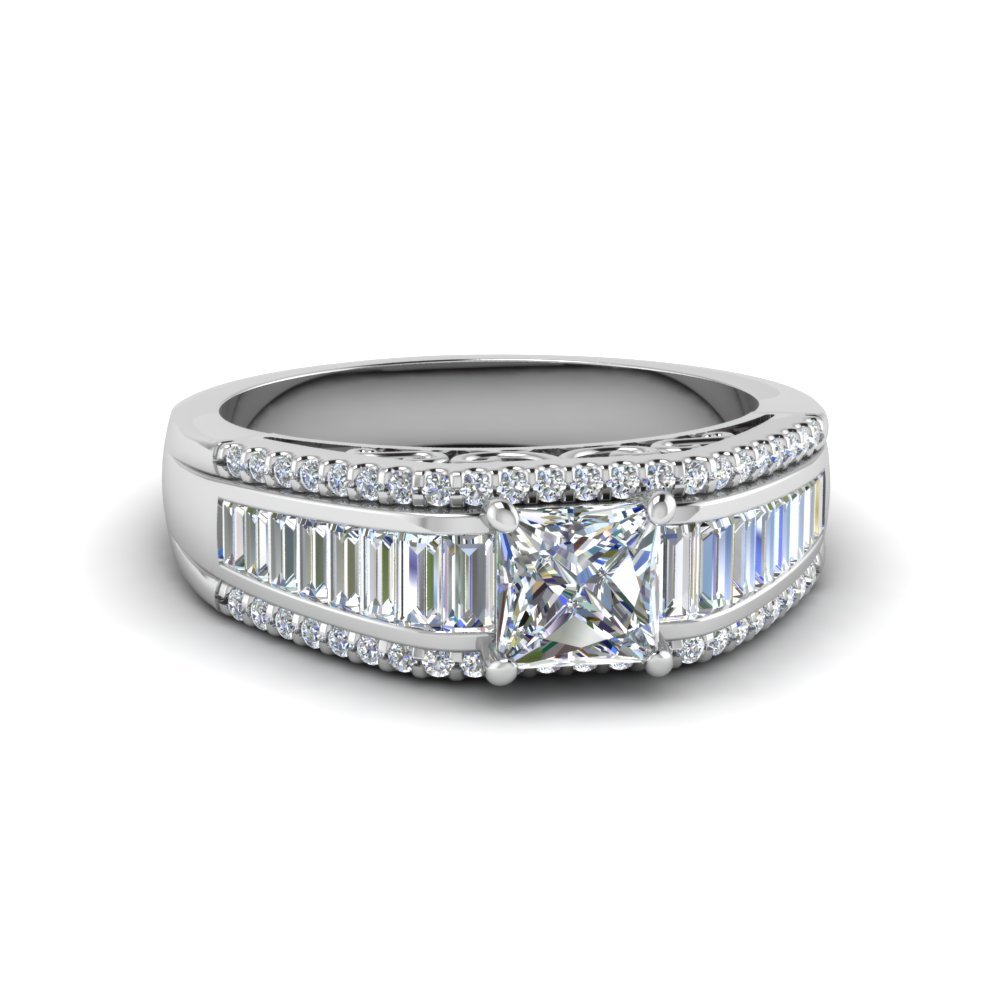 Princess Cut Trio Baguette Diamond Ring