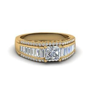 Trio Baguette Diamond Wide Band Ring