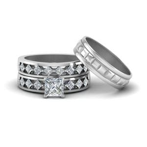 Trio Wedding Ring Sets For Him And Her