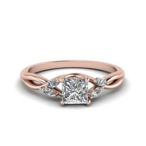 Princess Cut Twisted Petal Diamond Ring