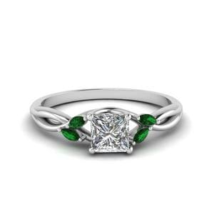 Delicate Princess Cut Emerald Ring