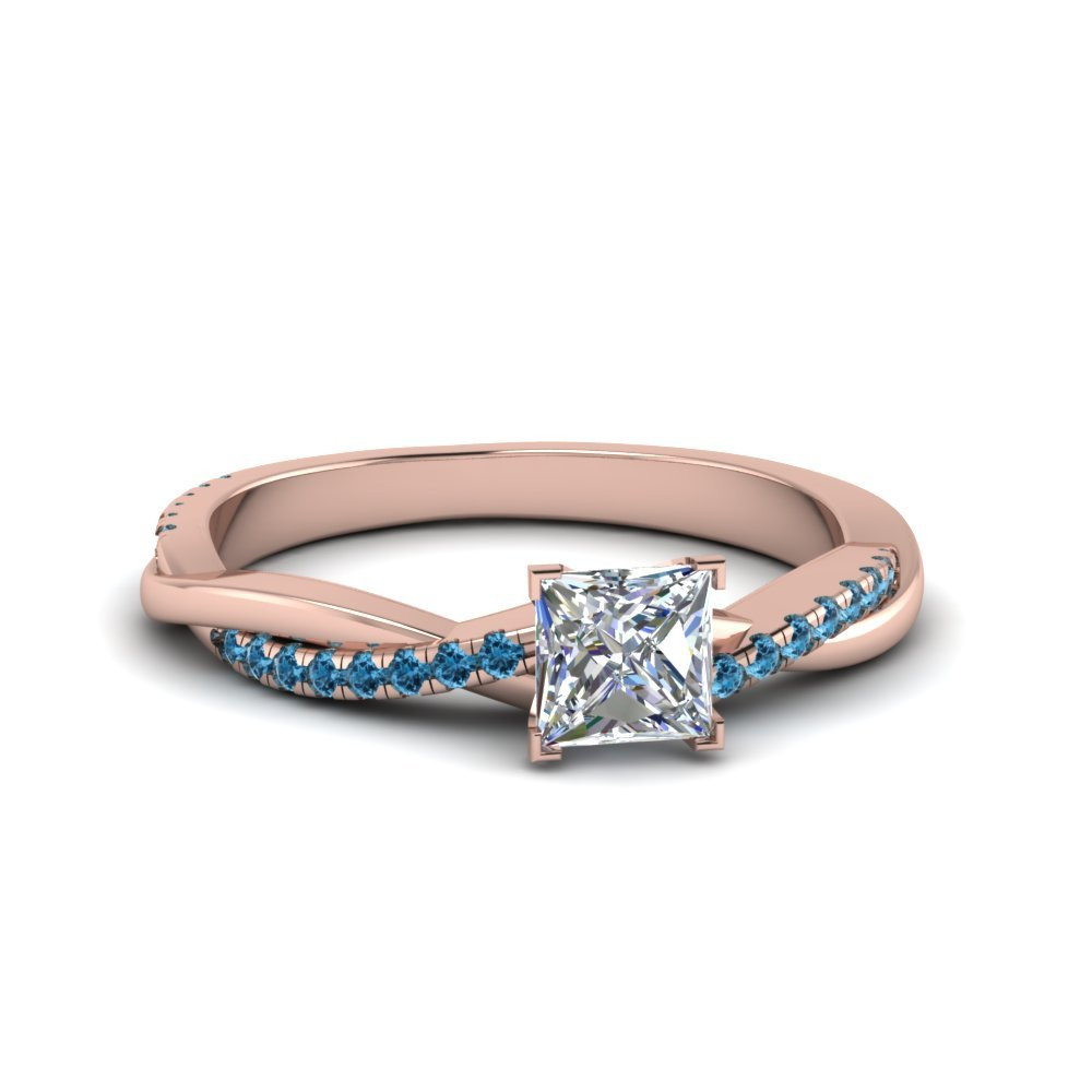 Princess Cut Twisted Vine Diamond Ring With Blue Topaz In 14K Rose Gold
