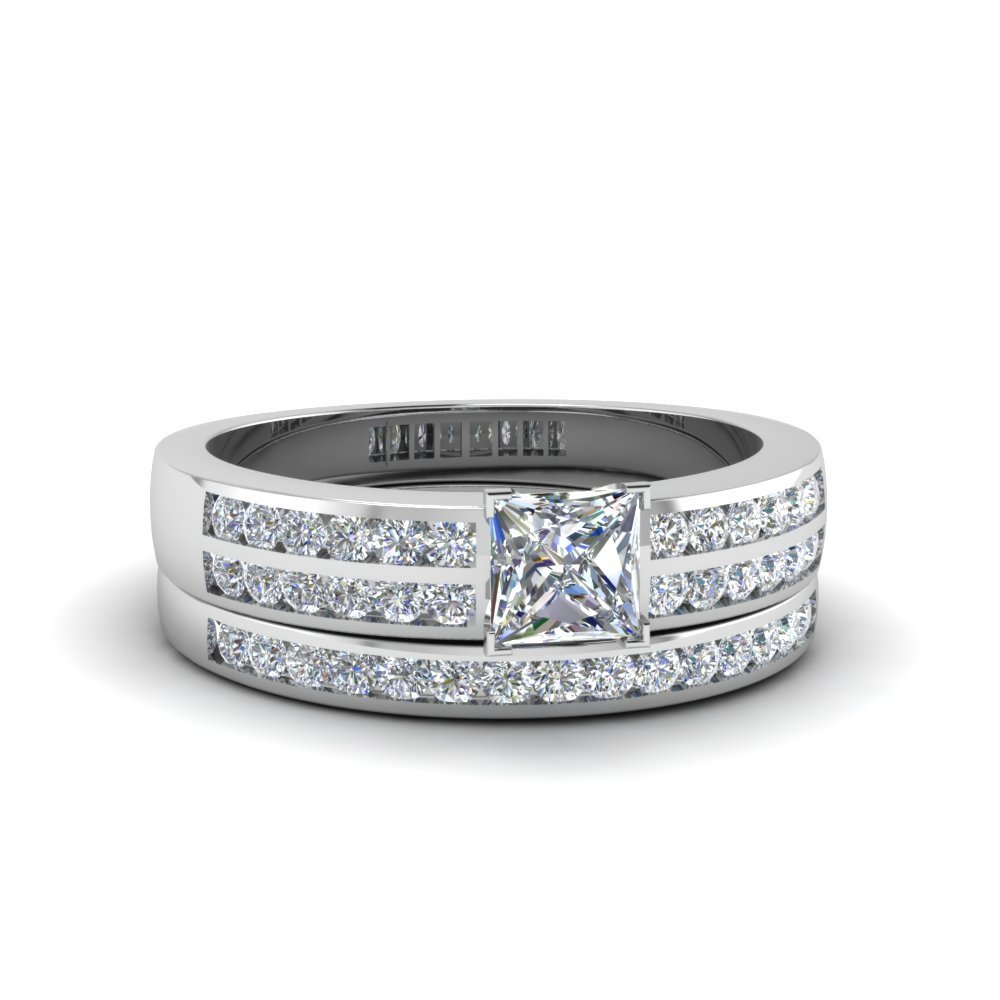 Platinum Princess Cut Diamond Bridal Set