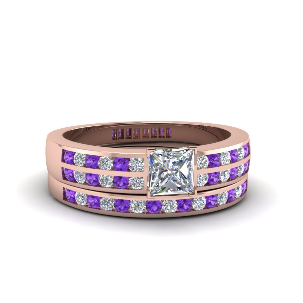 Princess Cut Two Row Channel Diamond Bridal Set With Purple Topaz In 14K Rose Gold