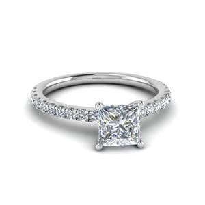 Princess Cut U Prong Diamond Ring In 14K White Gold