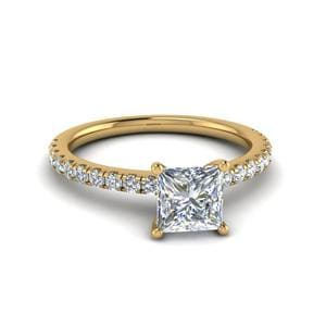 Princess Cut U Prong Diamond Engagement Ring In 14K Yellow Gold