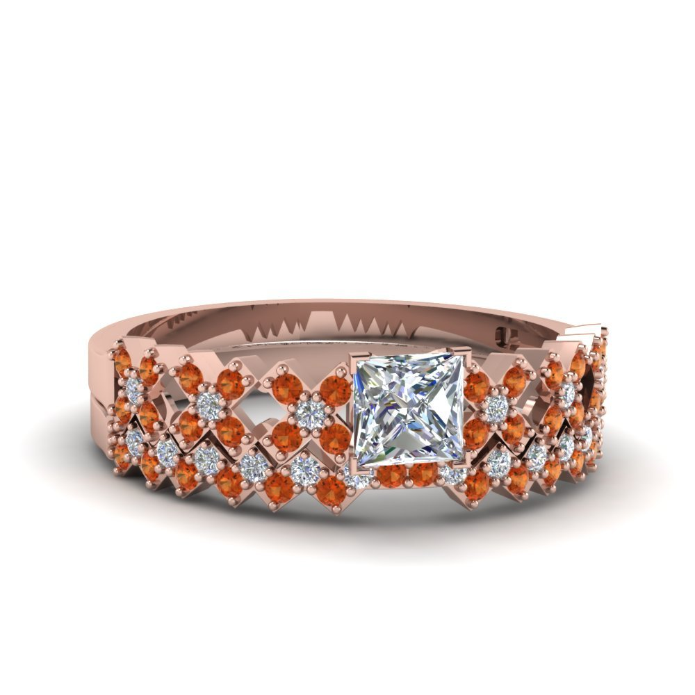 X Design Wedding Set With Orange Sapphire