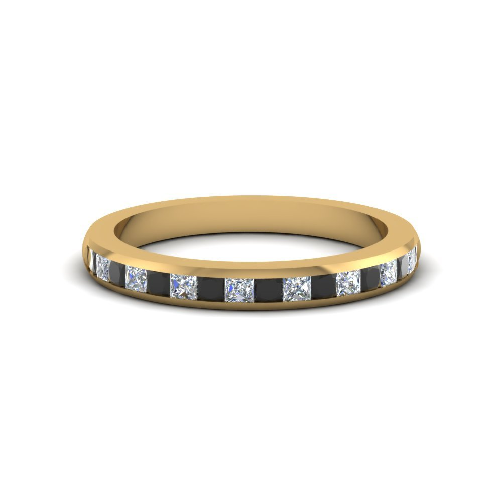 Wedding Band With Black Diamond